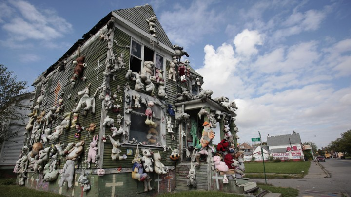 A house covered with stuffed animals