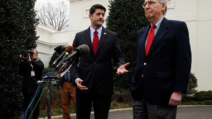 House Speaker Paul Ryan and Senate Majority Leader Mitch McConnell address the press outside of the White House.