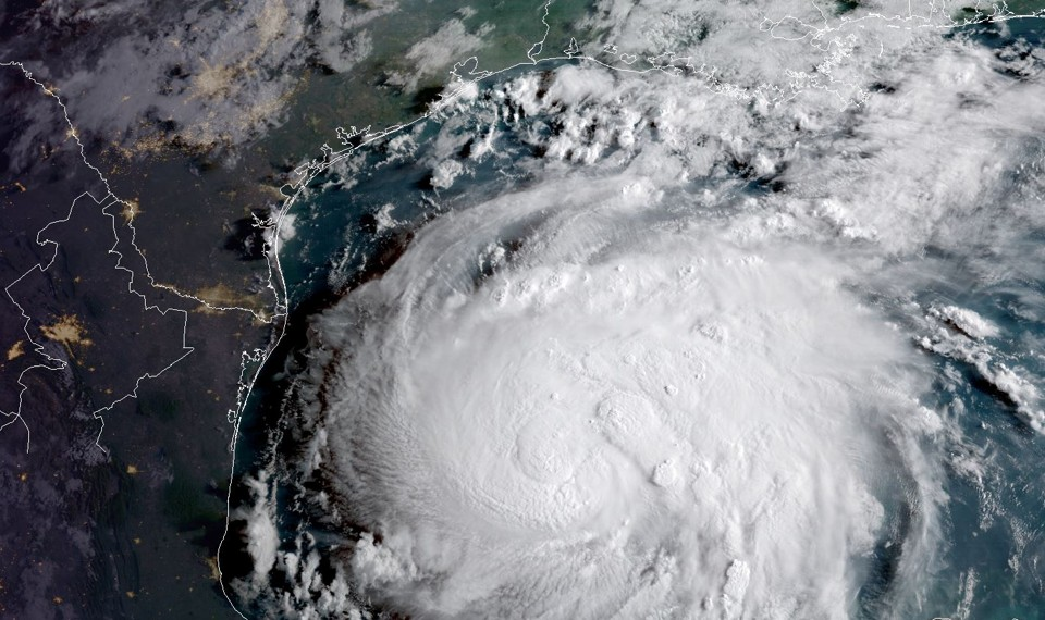 A satellite image of Hurricane Harvey in the Gulf of Mexico
