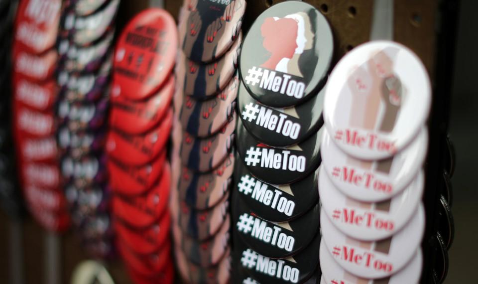 A vendor sells #MeToo badges in Los Angeles.
