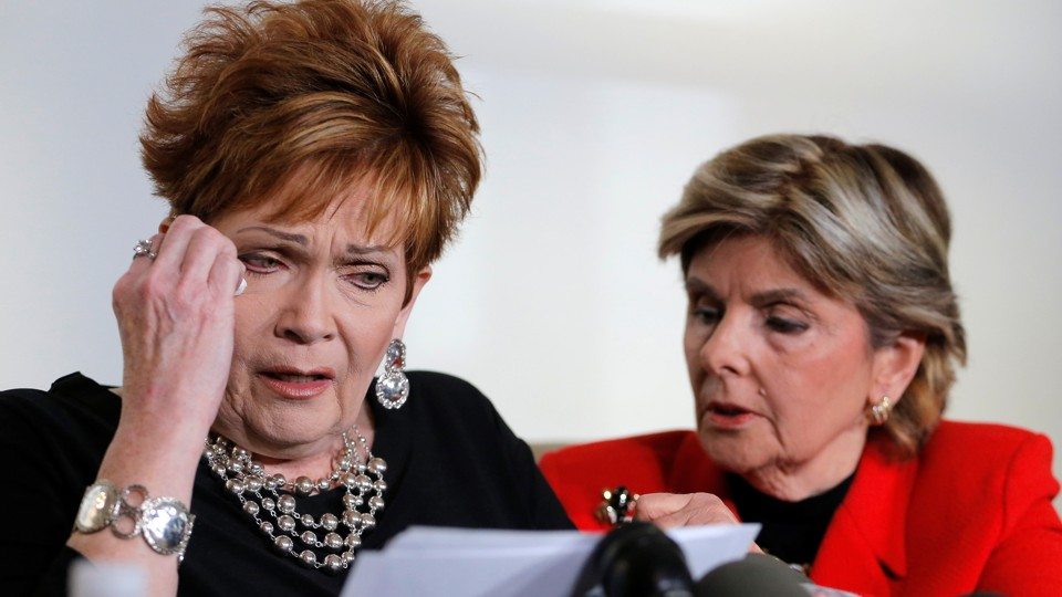 Beverly Young Nelson delivers a statement alongside attorney Gloria Allred.
