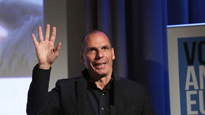 Former Greek Finance Minister Yanis Varoufakis gestures.