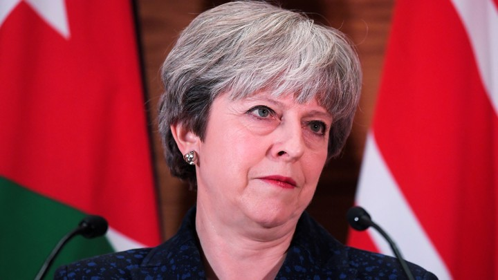 U.K. Prime Minister Theresa May attends a press conference in Amman, Jordan on November 30, 2017.