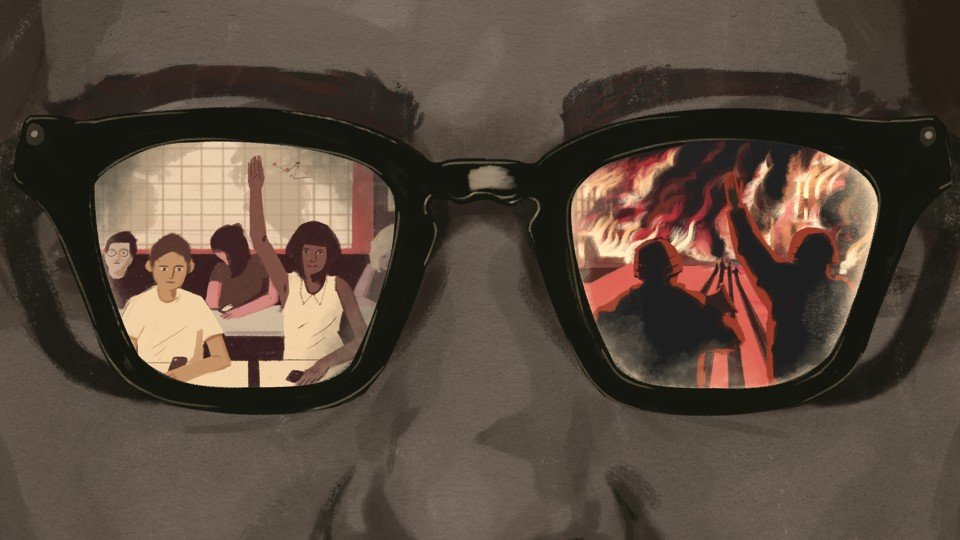 A custom image of a face with glasses; an image of a classroom is seen in one lens, and of soldiers at war in the other.