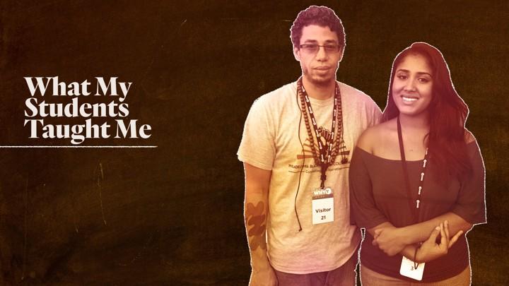 A custom illustration featuring Valentina Love Salas and Ismael Jimenez superimposed on the image of a chalkboard.