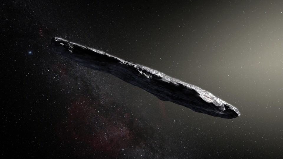 An artist's impression of the interstellar asteroid Oumuamua