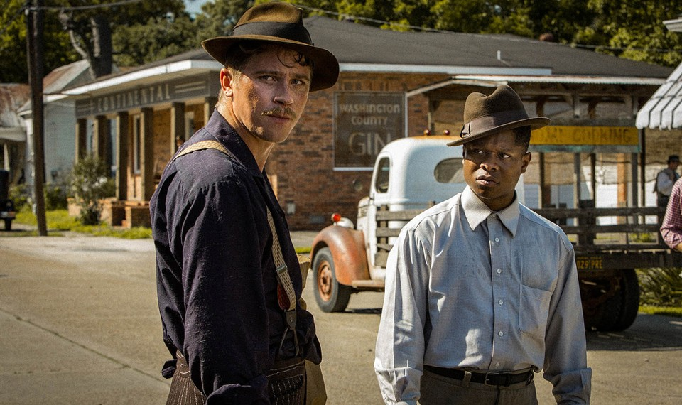 Garrett Hedlund and Jason Mitchell in 'Mudbound'