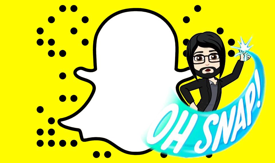 "The Snapchat logo with a Bitmoji saying ""Oh snap!"""