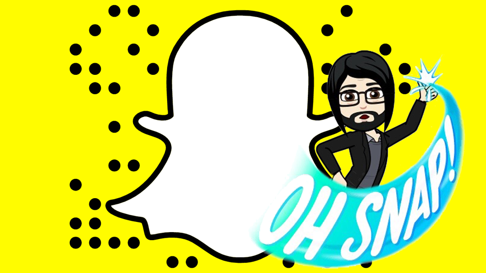 "The Snapchat logo with a Bitmoji saying ""Oh snap!"""