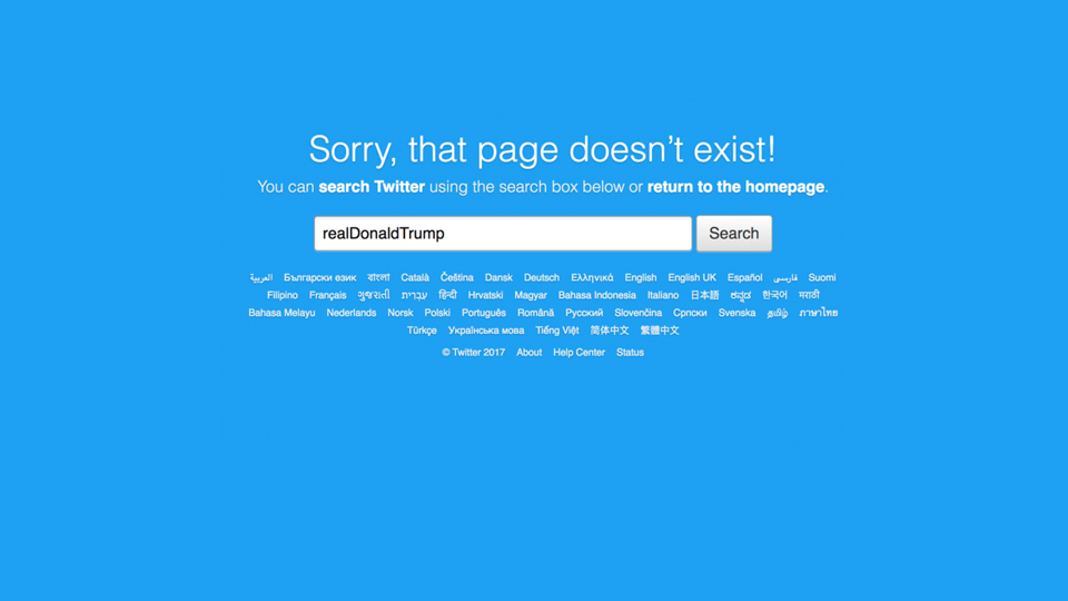 An error page from Twitter stating that the account @realDonaldTrump doesn't exist