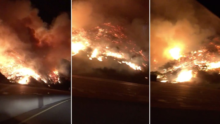 Three cellphone images of fires burning the hillside along the 405 freeway