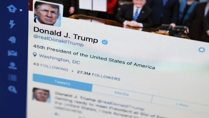 Donald Trump's Twitter feed is photographed on a computer screen