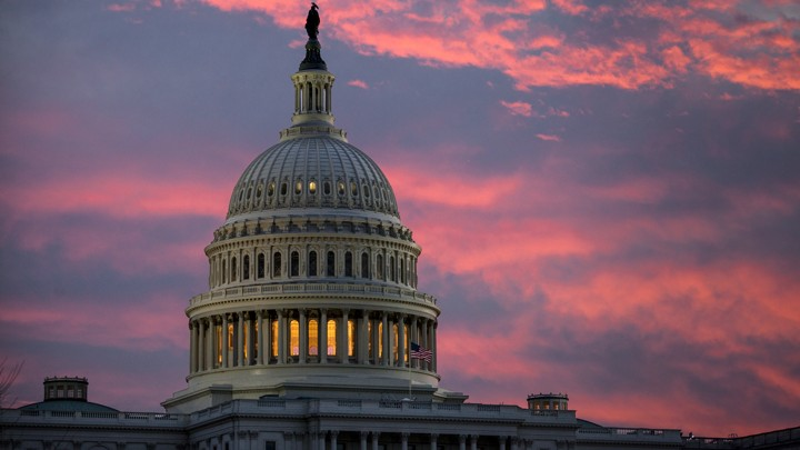 The U.S. Capitol at twilight in Washington, D.C.
