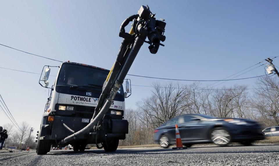 A pothole-repair truck