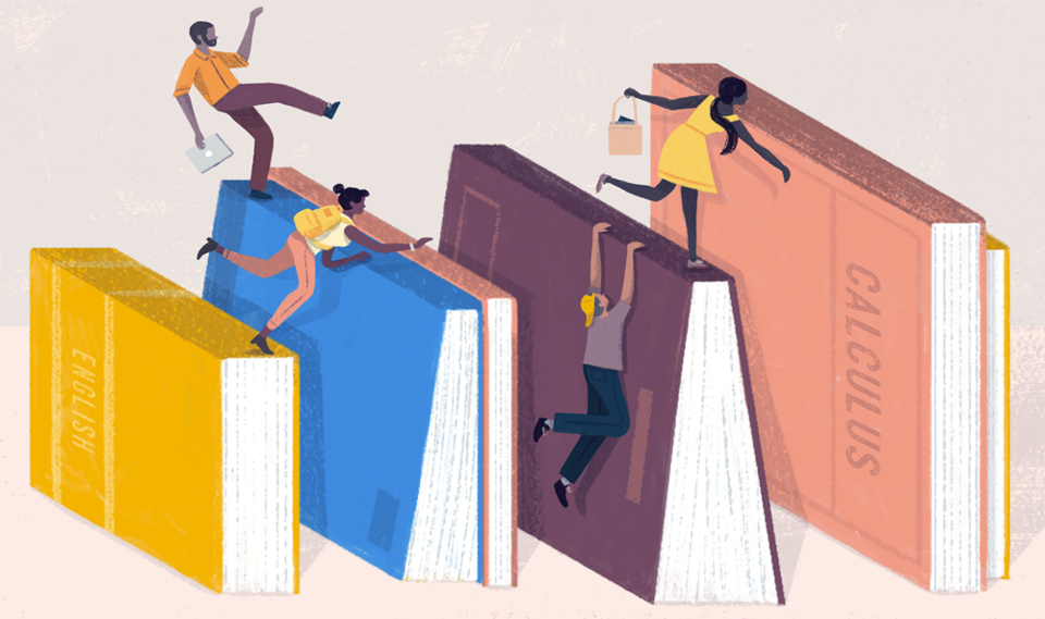 An illustration of students climbing on large textbooks.