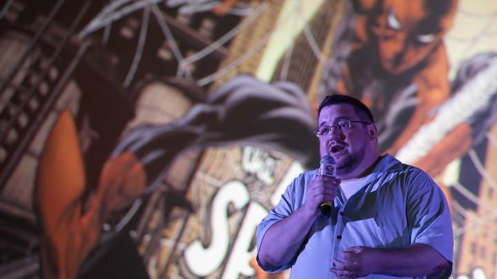 C.B. Cebulski speaks during the Singapore Toy, Game & Comic Convention on September 1, 2013.