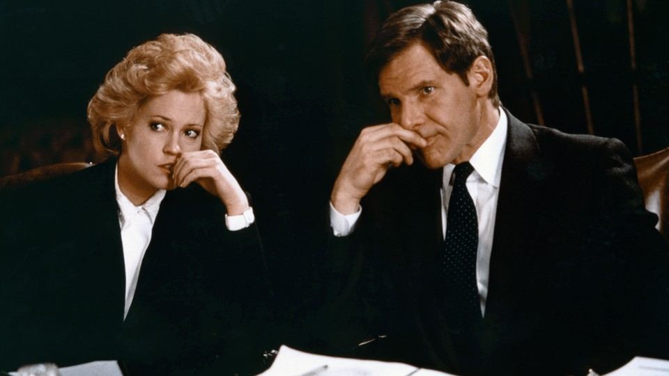Melanie Griffith and Harrison Ford on the set of 'Working Girl'