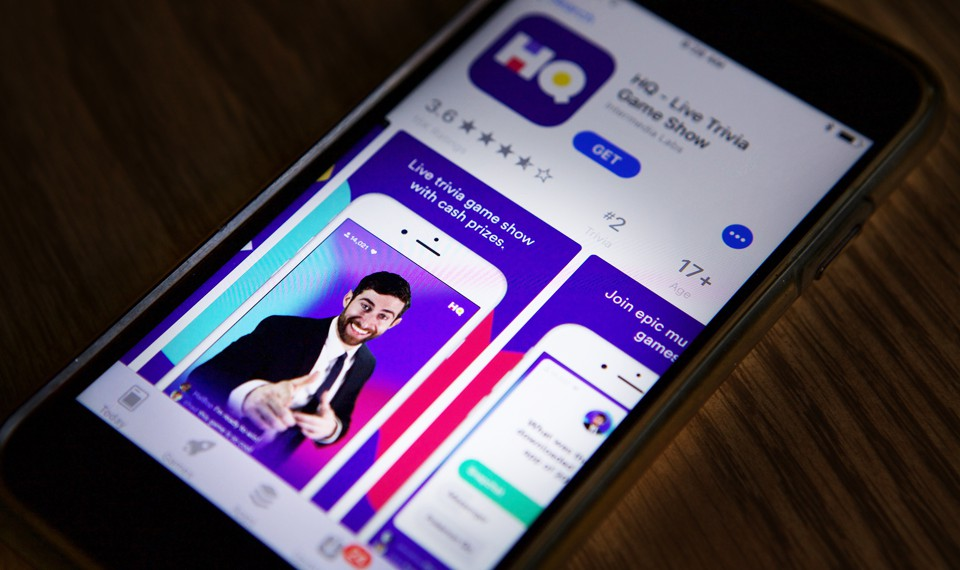 An iphone displaying HQ Trivia in the app store