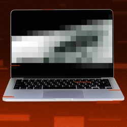Illustration of a laptop with a pixelated screen in front of a red background