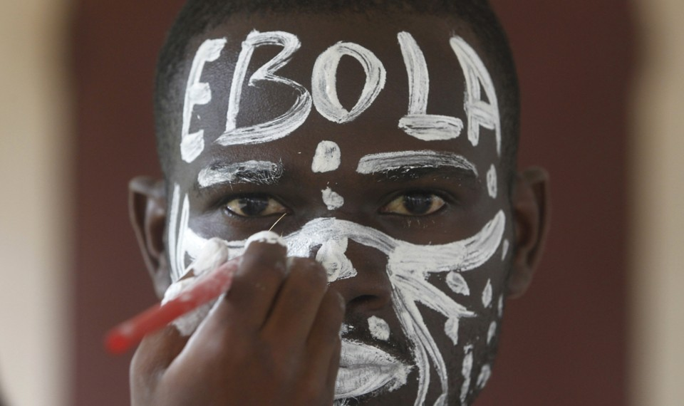 """An actor with """"EBOLA"""" written across his forehead"""