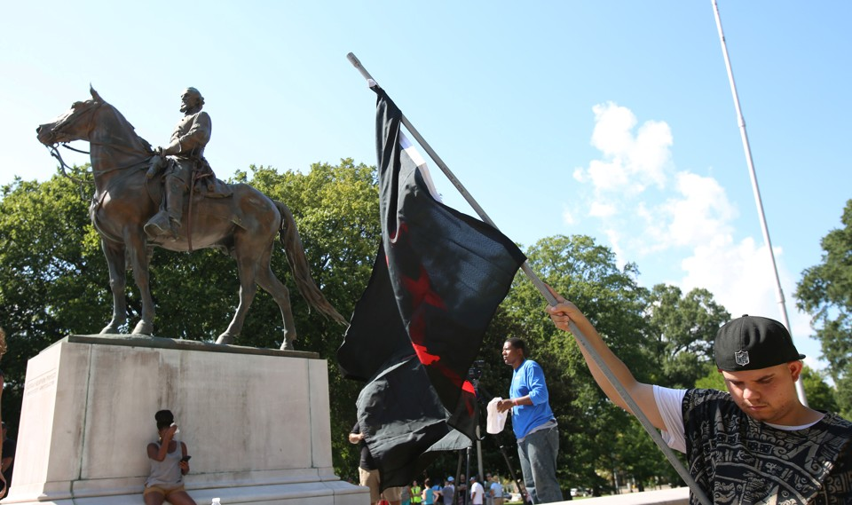 An August rally at a statue of Nathan Bedford Forrest in Memphis