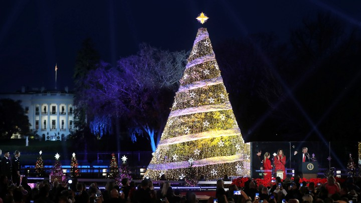 President Donald Trump And First Lady Melania Trump Attend The National Christmas  Tree Lighting And Pageant Of Peace Ceremony Near The White House In ...