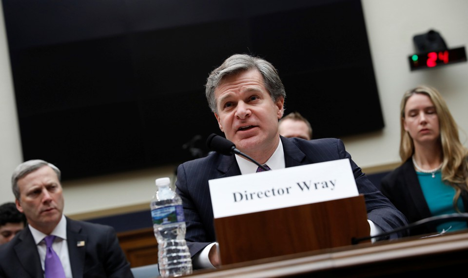 FBI Director Chris Wray testifies before the House Judiciary Committee on December 7.
