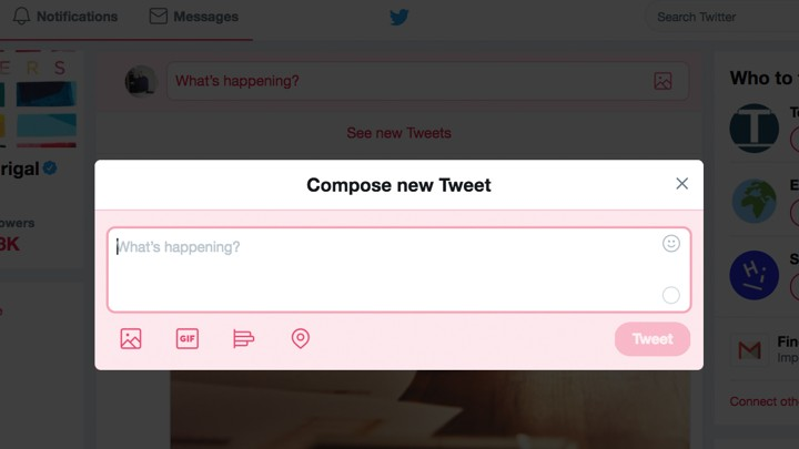 "A ""Compose New Tweet"" pop-up on the Twitter interface"