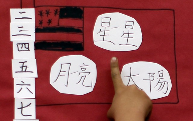 a childu0027s drawing of the american flag is depicted alongside chinese characters