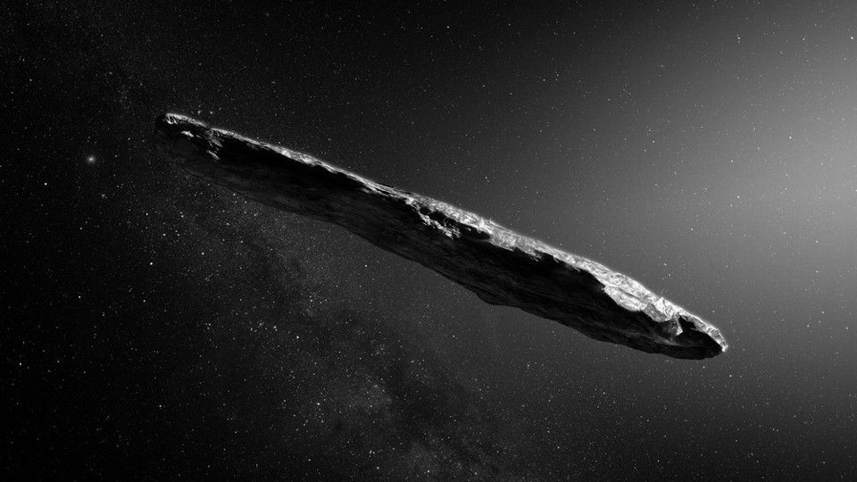 An artist's impression of the interstellar asteroid 'Oumuamua