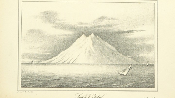 19th-century engraving of a volcano in Iceland