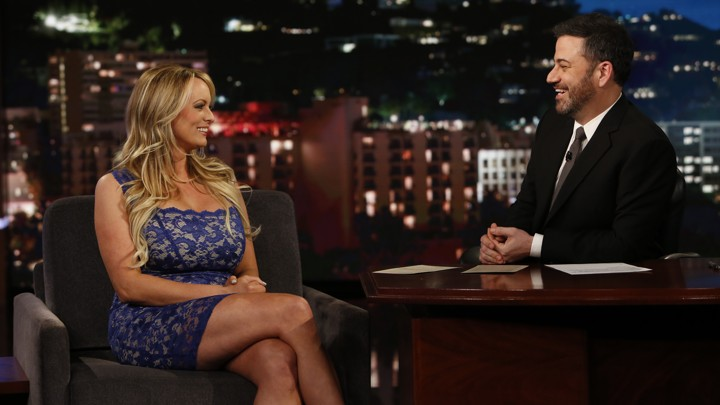 The adult-film actress and director Stormy Daniels appears on 'Jimmy Kimmel Live!' on January 30, 2018