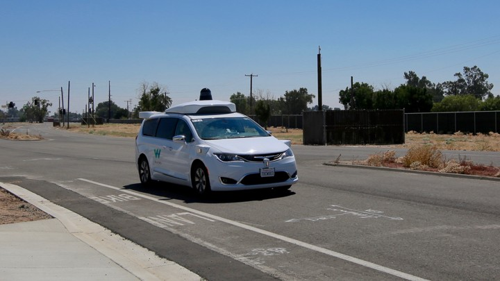 A self-driving Waymo vehicle at the company's test city on the former Castle Air Force Base