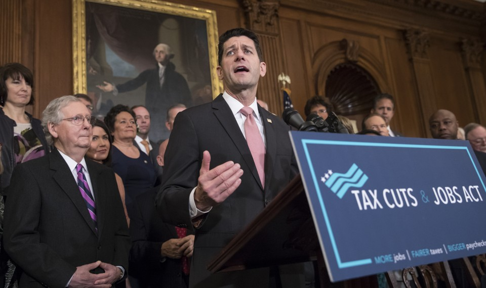 House Speaker Paul Ryan speaks about the GOP tax bill at the Capitol.