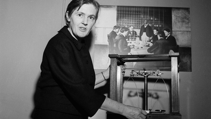 Frances Oldham Kelsey examines scales.
