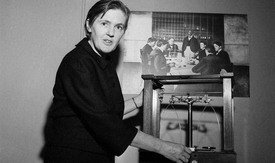 Frances Oldham Kelsey examines scales.