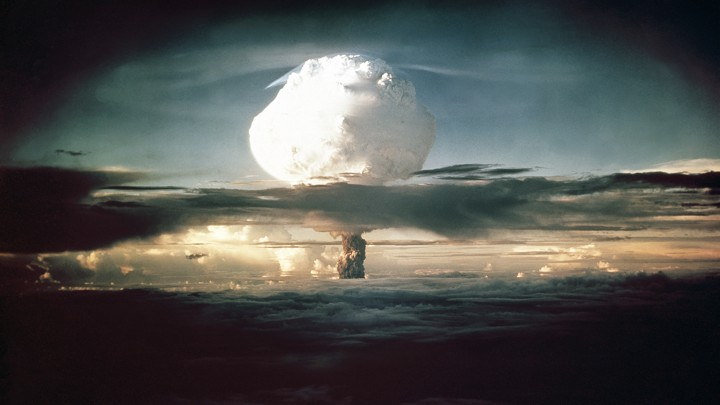 A mushroom cloud over an ocean