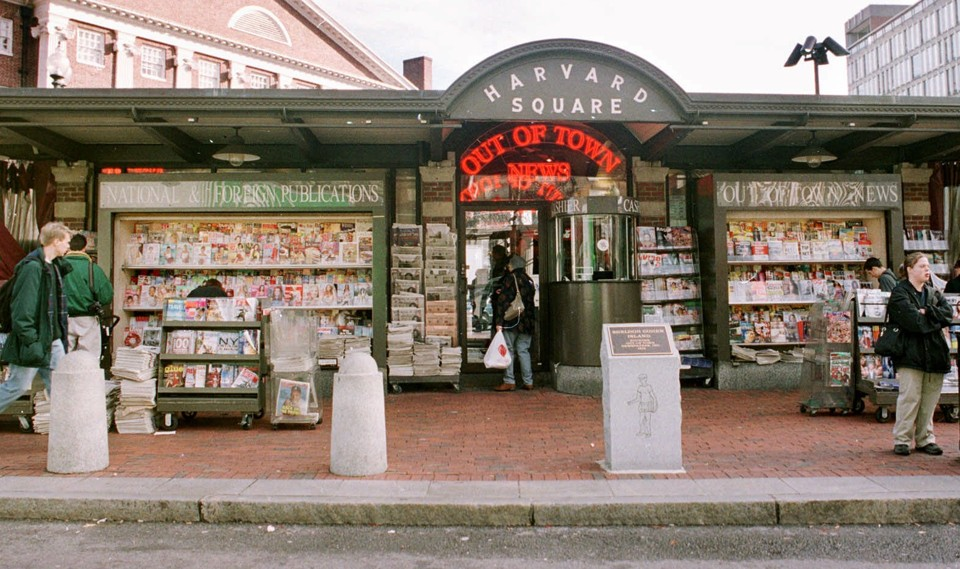 Harvard Square's Out of Town News kiosk, as photographed in 1999
