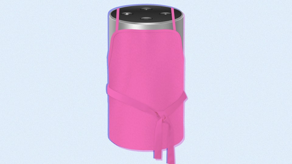 An Amazon Echo device donning an apron.