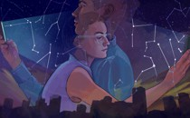 Two young people crossing paths over a cityscape, looking at their phones. The glow of the phones illuminates constellations in the sky.