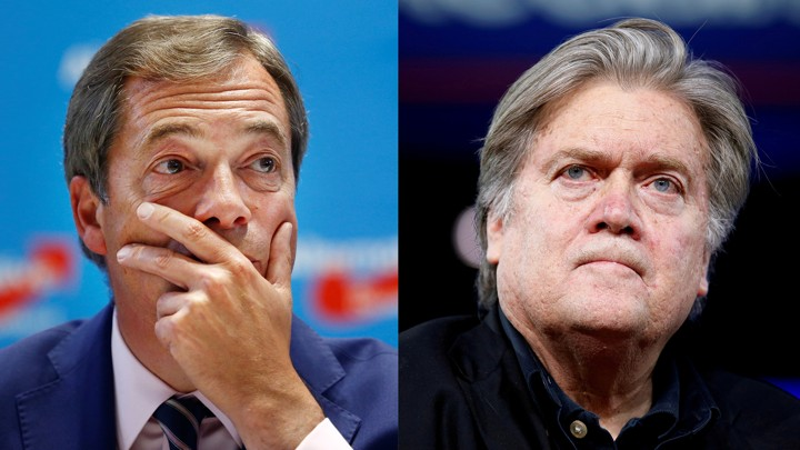 Former UK Independence Party Leader Nigel Farage (left) and former White House chief strategist Steve Bannon.