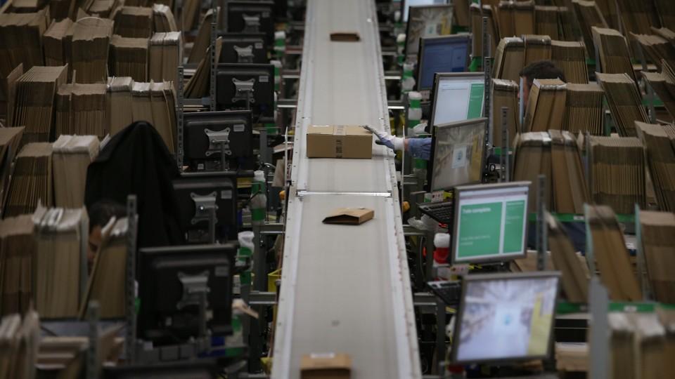 A conveyor belt in an Amazon warehouse