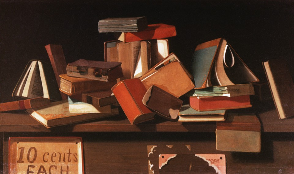 A painting of several books tossed haphazardly on a table