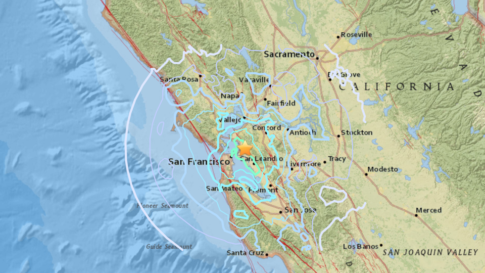 A map of California showing the epicenter of an earthquake in Oakland
