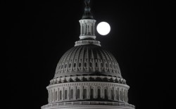 The moon over the Capitol. Totally not spooky.