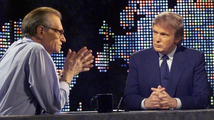 Donald Trump discusses his potential presidential run with Larry King on CNN in 1999