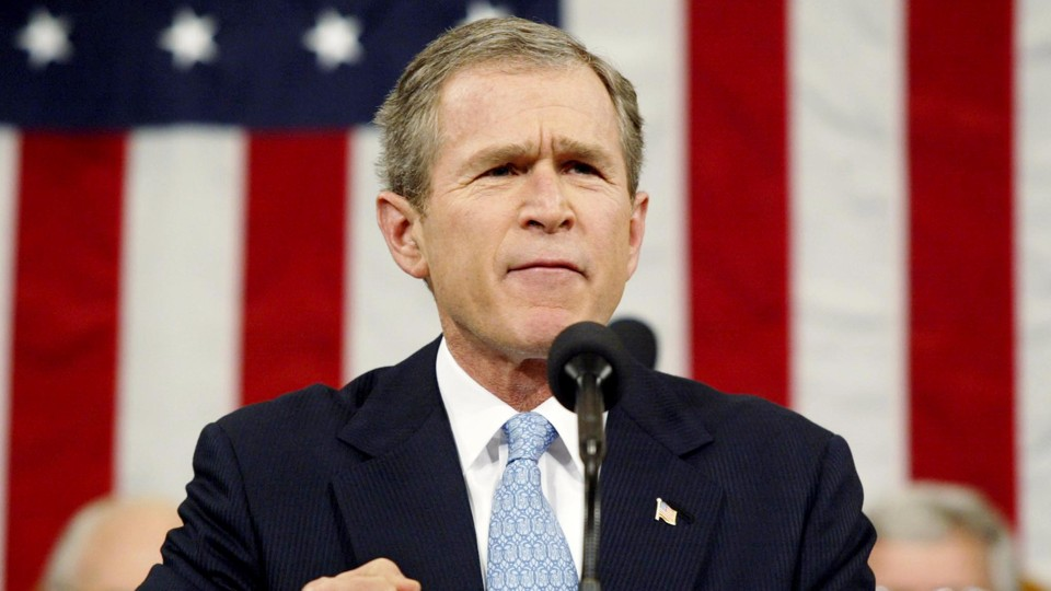 President Bush delivers the State of the Union address in 2002.