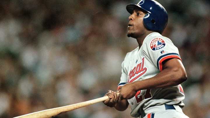The Expos' Vladimir Guerrero hits the first of two home runs against the Diamondbacks in a 2000 game