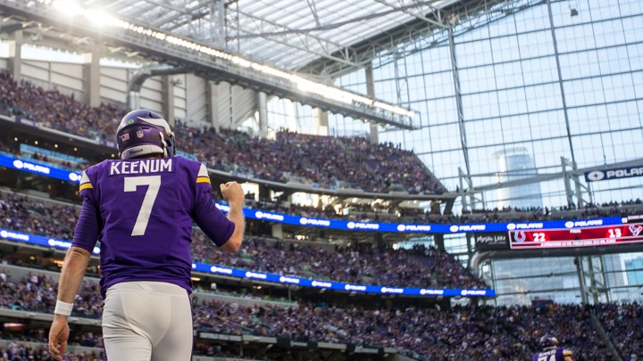 The Minnesota Vikings quarterback Case Keenum celebrates during the fourth quarter against the Chicago Bears at U.S. Bank Stadium on December 31.