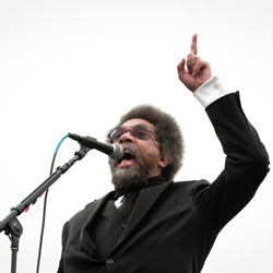 Cornel West photographed at a campaign rally for Bernie Sanders in 2016